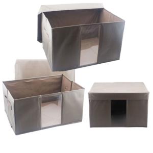 กล่องหนังใส่ผ้า กล่องใส่เสื้อผ้า กล่องเอนกประสงค์ แบบแข็ง Set 3 ชิ้น 3 ขนาด – สีน้ำตาล