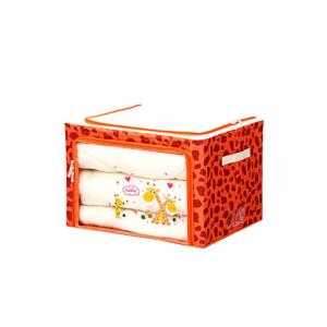 กล่องใส่ผ้านวม กล่องเสื้อผ้า ผ้าห่ม กล่องเอนกประสงค์ ลายยีราฟ – สีส้มแดง