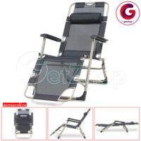 Getzhop เตียงนอน เตียงพับ เก้าอี้พับ เก้าอี้ปรับเอนนอน เก้าอี้ปรับระดับ รุ่นพิเศษ มีรูระบายอากาศ (สีดำ) แถมฟรี! หมอนรองคอ+ผ้าคลุม
