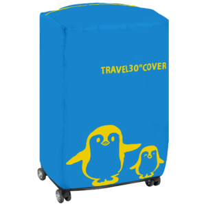 GetZhop ผ้าคลุมกระเป๋าเดินทาง ถุงครอบ กระเป๋าเดินทาง ลายเพนกวิน ขนาด 30 นิ้ว  ( สีฟ้า )