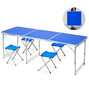 Getzhop โต๊ะตั้งแคมป์ ชุดโต๊ะปิคนิคพับได้ โต๊ะอลูมิเนียม พร้อมเก้าอี้นั่ง 4 ตัว (สีน้ำเงิน)
