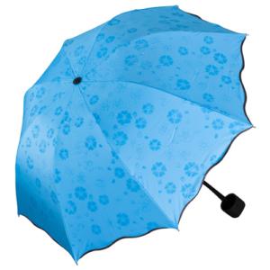 GetZhop ร่มกันฝน โดนน้ำมีลาย หน้าร่มกว้าง 90 เซนติเมตร ร่มแบบพับเก็บได้- สีฟ้า