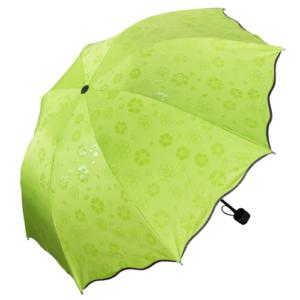 GetZhop ร่มกันฝน โดนน้ำมีลาย หน้าร่มกว้าง 90 เซนติเมตร ร่มแบบพับเก็บได้- สีเขียว