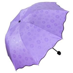 GetZhop ร่มกันฝน โดนน้ำมีลาย หน้าร่มกว้าง 90 เซนติเมตร ร่มแบบพับเก็บได้- สีม่วง