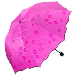GetZhop ร่มกันฝน โดนน้ำมีลาย หน้าร่มกว้าง (90 CM.) ร่มแบบพับเก็บได้- PP