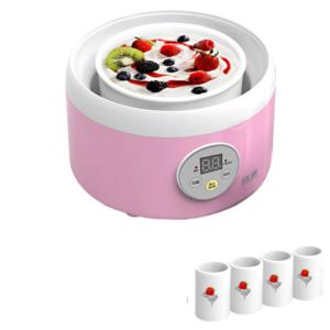 Getzhop เครื่องทำโยเกิร์ตมัลติฟังก์ชั่น Yogurt Maker รุ่น TW-301C แถมฟรี! แก้ว 4 ใบ – สีชมพู