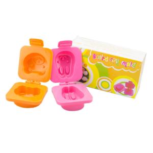 พิมพ์ไข่ต้ม รูปกระต่ายกับหมี – สีชมพู/สีส้ม