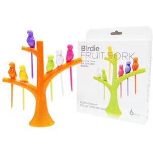 Birdie Fruit fork Wooden Spoon Sticks DIY ที่จิ้มผลไม้ – สีส้ม