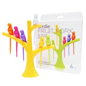 Birdie Fruit fork Wooden Spoon Sticks DIY ที่จิ้มผลไม้ – สีเหลือง