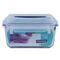 กล่องถนอมอาหาร ทรงเหลี่ยม มีหูหิ้ว Glasslock รุ่น MHRB 1800 มล. – สีฟ้า
