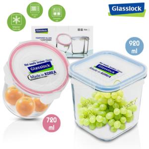 Glasslock กล่องแก้ว ถนอมอาหาร ทรงเหลี่ยม/ทรงกลม – สีชมพู/ฟ้า