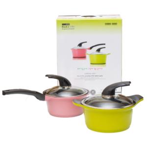 ชุดหม้อเคลือบเซรามิค 2 ใบ หม้อทำอาหาร รุ่น ceramic – สี ชมพู / เขียว