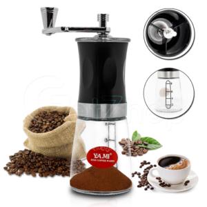 YAMI เครื่องบดกาแฟ Coffee Grinders Glass มือหมุน(Black)