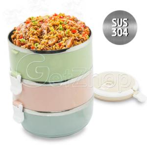 Lunchbox ปิ่นโต ปิ่นโตสแตนเลส สูญญากาศ 3 ชั้น Bento Food Picnic Storage (สีพาสเทล)