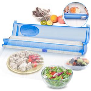 Getzhop เครื่องแร๊บอาหาร Wraptastic เครื่องห่อพลาสติก ตัดฟิล์มฟอยล์หรือยึดห่อ Cutting Box -สีฟ้า