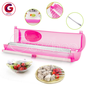 Getzhop Wraptastic เครื่องห่อพลาสติก ตัดฟิล์มฟอยล์หรือยึดห่อ Cutting Box -สีชมพู