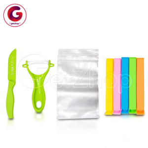 Getzhop ชุดมีด ที่ปลอกเปลือก ที่ปิดปากถุง พร้อมถุง (คละสี)