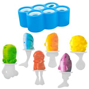 GetZhop แม่พิมพ์ทำไอศครีมแท่ง 6 ช่อง รูปสัตว์ – (Blue)