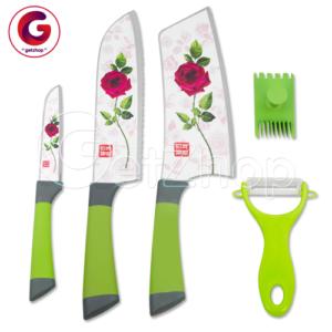 Rose Stainless Steel Knife ชุดมีดสแตนเลสลายกุหลาบ (สีขาว)