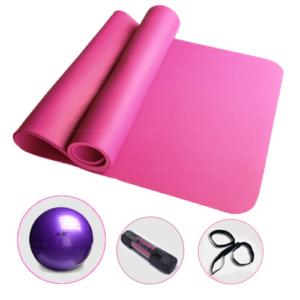 GetZhop เสื่อโยคะ (ขนาด 1x200x 90 cm) + ลูกบอลโยคะ 20 cm. + ถุงใส่เสื่อและสายสะพาย – สีชมพู
