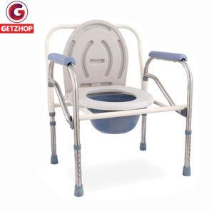 Getzhop เก้าอี้นั่งถ่าย เก้าอี้นั่งถ่ายพร้อมพนักพิง สุขาเคลื่อนที่ สแตนเลส ปรับระดับความสูง-ถอดประกอบพับได้ รุ่น 804 (Silver)