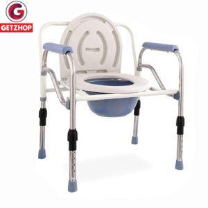 Getzhop เก้าอี้นั่งถ่าย เก้าอี้นั่งถ่ายพร้อมพนักพิง สุขาเคลื่อนที่ สแตนเลส ปรับระดับความสูง-ถอดประกอบพับได้ รุ่นพิเศษ!แข็งแรง 804-1