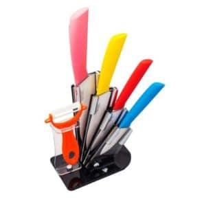 GetZhop ชุดมีดเซรามิค 5 ชิ้น + มีดปอกเปลือก พร้อมฐาน Ceramic knife Set รุ่น ADYD ชุดที่ 10 – คละสี