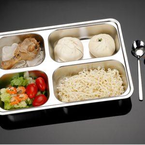 Thaibull ถาดอาหาร ถาดใส่อาหาร ถาดหลุมสแตนเลส 4 ช่อง พร้อมฝาปิด Food tray TBSS-4E (Stainless Stell 304)