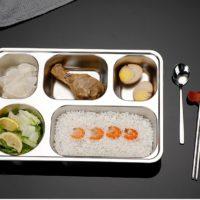 Thaibull ถาดอาหาร ถาดใส่อาหาร ถาดหลุมสแตนเลส 5 ช่อง พร้อมฝาปิด Food tray TBSS-5E  (Stainless Stell 304) รุ่นใหญ่! แถมฟรี! อุปกรณ์เสริม