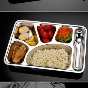 Thaibull ถาดอาหาร ถาดใส่อาหาร ถาดหลุมสแตนเลส 6 ช่อง พร้อมฝาปิด Food tray TBSS-6E (Stainless Stell 304) รุ่นใหญ่! แถมฟรี! อุปกรณ์เสริม