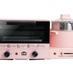 HOUSE WORTH รุ่น HW-B003 ชุดทำอาหารอเนกประสงค์ เตาอบตั้งโต๊ะ หม้อต้ม กระทะไฟฟ้า Multifunction cooker (Pink)